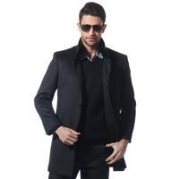 Aoken business casual after placketing hair black mink fur collar elegant wool coat paragraph