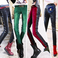 High Quality Autumn 2013 women's corduroy patchwork denim pencil pants slim trousers