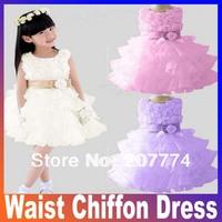Retail !2013 new sleeveless Waist Chiffon Dress Girls Toddler 3D Flower Tutu Layered Princess Party Bow Kids Formal Dres