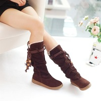 Medium-leg boots lace decoration tassel flat heel tan boots women winter shoes