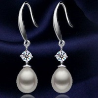 Free shipping Pear Natural Earring with Silver Accessory Teardrop Earrings 8-9mm Fashion