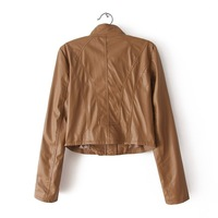 Pu slim design short mantelet leather clothing jacket