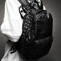 2012 men's skull bag backpack school bag rivet vintage female bags backpack