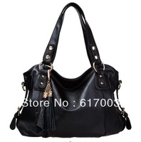2013 new fashion women genuine leather tote bag real cowhide handbag vintage messenger bag black khaki brown free shipping sale