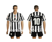 10# TEVEZ 13/14 Juventus best quality home black/white soccer football jersey + shorts kits, soccer uniforms embroidery logo