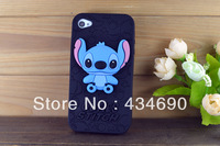 Freeshipping 2013 The Latest  For iPhone 4s  Shell Black Stereo Stitch Cartoon Silicone Phone Sets