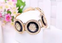 Europe and the United States fashionable new trend of big shop sign Rhinestone gold lion head bracelet lion a bangle bracelet