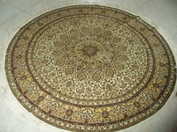 5x5'Gorgeous Yellow Traditional Qum Persian Handmade Silk Round Carpet And Rug For Living Room Bed Room