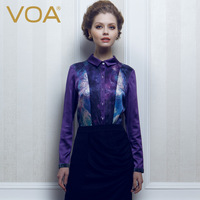 Voa silk shirt silk women's fashion mulberry silk long-sleeve shirt b136