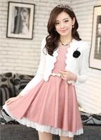 2013 autumn ol elegant polka dot long-sleeve basic twinset one-piece dress one-piece dress