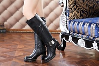 Free shipping Luxury 2013 new fashion winter genuine leather  high-leg buckle shoes lady black boots women's brand fur liner
