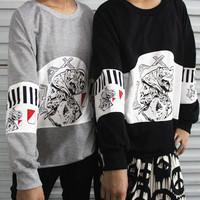 Sty nda HARAJUKU ajax head portrait print stripe long-sleeve lovers pullover sweatshirt  db