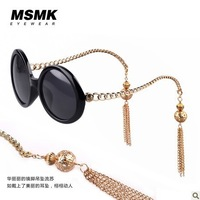 NEW women sunglasses, gold tassel pendant, big round framework, six colors,support  Wholesale and retail, Free shipping