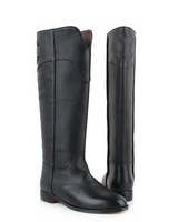 2013 Winter famous brand new fashion flat boot sexy black genuine leather knee-high boots motorcycle boots