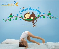 Monkeys' Sweet Dreams Kid Baby Crib Bed Wall Decal Vinyl Art Sticker Quote Decor