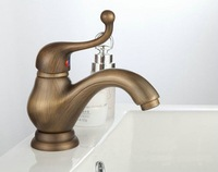 Free Shipping European Style Single Handle Antique Brass Mixer Bath Bathroom Sink Basin Faucet sk38