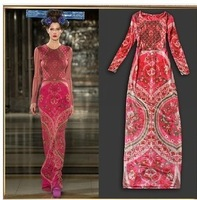 Brand Hight quality new 2014 fashion Spring winter women dresses embroidery long party evening red dresses S M L