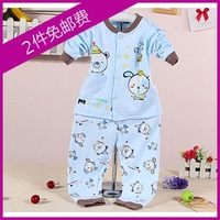 Free shipping Spring and autumn 100% cotton cardigan male outerwear baby lounge set newborn clothes