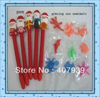 Free ship Christmas Santa Claus kids toys  ceramic pens  + growing sea animal  toys  crystal water balls grow toys