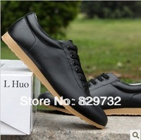 Free shipping 2013 new fashion male casual shoes trend pointed toe leather male fashion skateboarding shoes