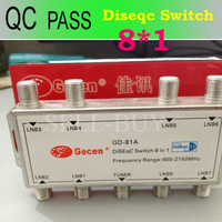 1pc Original Gecen GD-81A 8 in 1 DiSEqC Switch 8*1 Satellites FTA TV LNB Switch high quality Free Shipping Post