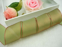 "New Arrival! Reversible Shiny Satin Organza Sheer Ribbon Light Green & Coffee 1 1/2""  Wide,Free Shipping"