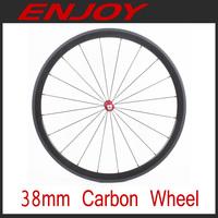 light weight 38mm carbon fiber clincher bicycle wheels 700c road bike wheelset