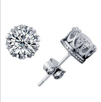 Factory 2013 new Hot Direct Sale Fashion Cute Created Diamond Crown Stud Earrings free shipping