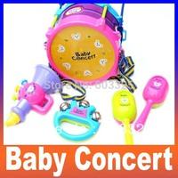 Wholesale Baby Toy Concert Rock n Roll Child Musical instrument baby hand waist drum drummer set 5 piece sand hammer rattles