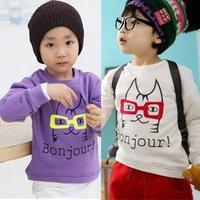 10 pcs/lot HOT Sale Children Kids Clothes Bonjour Long Sleeve T Shirt Boys Girls Autumn Spring Wear