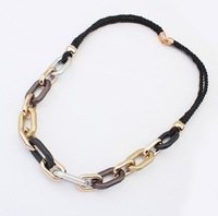 929#Min.order is $10 (mix order)European and American fashion personality a braided rope necklace.(2)FREE SHIPPING