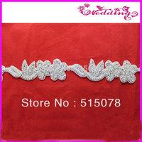 Diamond Crystal Bridal Rhinestone Beaded Applique For Wedding Dress