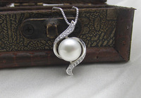 Free Shipping  Real Pearl Charms Pendants Jewelry Gift for Friends 925 Sterling Silver