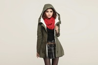 2013 Hot Sale  Womens Lady Double Breasted Long Jacket  Coat Outwear  Cotton Jacket  Cotton coat free shipping