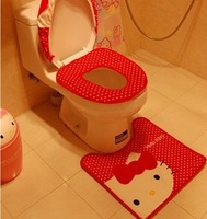 Cute Hello Kitty Plush Three-piece Bath Set Toilet sets Potty sets Ottomans 3pcs/set Free Ship