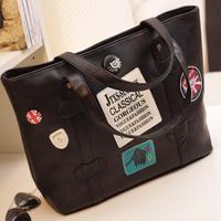 2013 women's handbag big bag vintage shoulder bag black handbag bucket bag fashion women's bags, free shipping