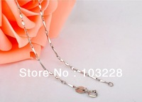 Clavicle  twisted slice melon seeds chain  925 Silver Necklace Plated  Platinum - D2