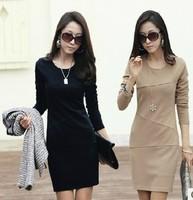 2013 autumn women's long-sleeve anti-wrinkle ol basic dress elegant plus size slim one-piece dress female