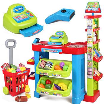 Child toy set supermarket cash register cash desk stacking shelf shopping cart toy