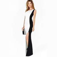 Dress black-and-white colorant match sleeveless single side vent one-piece dress elastic slim long