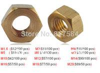 Free shipping Brass nut copper hex nuts, brass nut. Screw cap M1.6-M20. 50-100 pieces