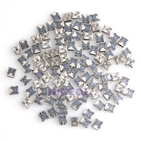 NI5L 100pcs DIY Micro USB 5-Pin Female SMT Socket Connector Silver