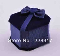 Free shipping blue 6.5*5.8*4.5cm ring box high quality flocking single ring box with bow plastic ring jewelry packaging