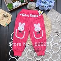 New 2013 autumn girl trousers lace pocket rabbit dot children pants free shipping kids pants 3pcs/1lot