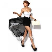 Women Sexy Corset Women's Dress Bandeau Strapless Chiffon Asymmetric Party Evening Dress Dress Black