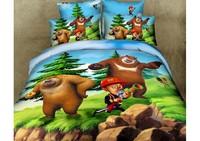New Beautiful 4PC 100% Cotton Comforter Duvet Doona Cover Sets FULL / QUEEN / KING SIZE bedding set 4pcs colorful cartoon bear