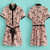 Free Shipping 2013 New Arrival Fasion Ladies Elegant Birds Print Short Sleeve Slim Summer Mini Casual Dress H1711