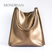 2013 autumn and winter fashion brief cowhide shopping bag pearlescent genuine leather shoulder bag handbag women's formal