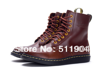 2014 hot sale brand fashion British style vintage waterproof cowhide leather men's martin boots