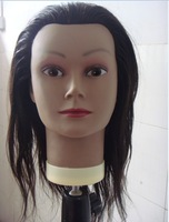 free shipping 100% human hair salon school hairdressing training PVC plastic mannequin model head withstamp